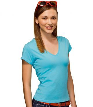 HA716 Hanes Lady Fit V Neck