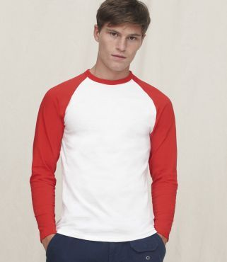 SS32 Fruit Of The Loom Contrast Long Sleeve Baseball T-Shirt